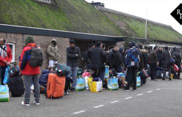 Aankomst eerste vluchtelingen vakantiepark Droomgaard Kaatsheuvel