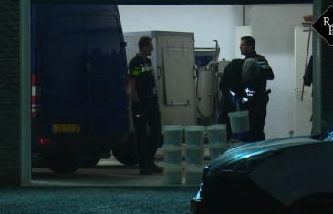 Grondstoffen voor drugslab aangetroffen in loods Winterdijk Waalwijk