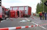 Truck met 80 runderen kantelt op A2 bij knooppunt Deil