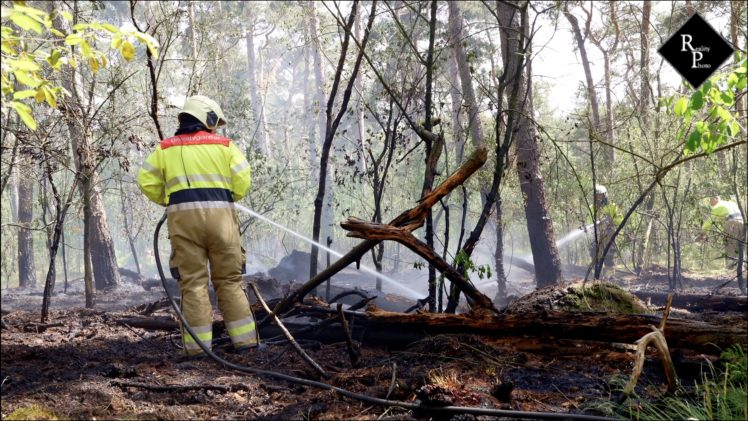 Beginnende bosbrand achter De Klinkert in Drunen